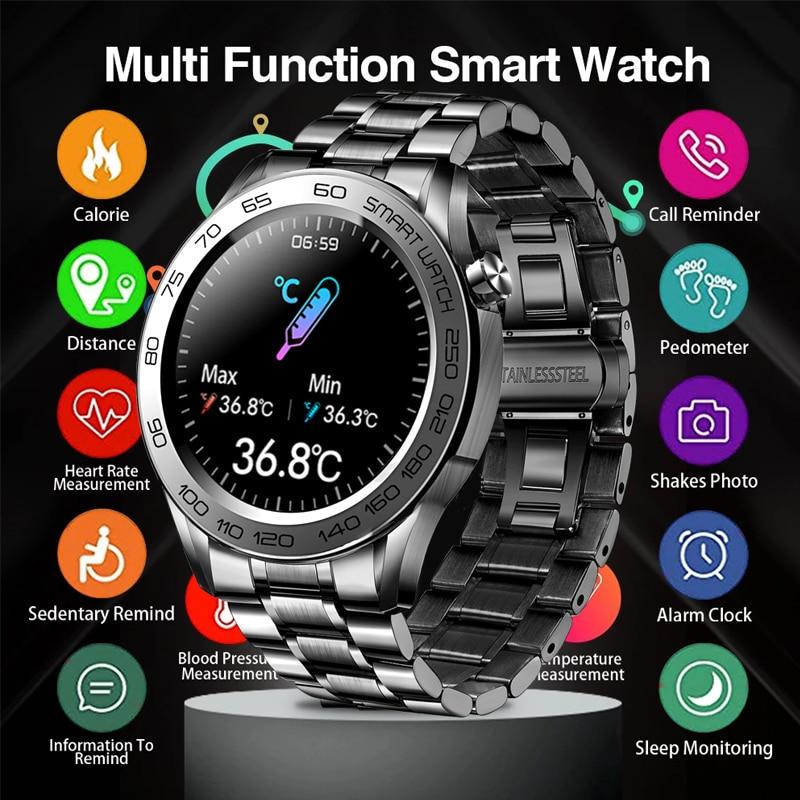 LIGE New Men Smart Watch Temperature Monitor Waterproof Sports Fitness Watch Health Tracker Men Smar