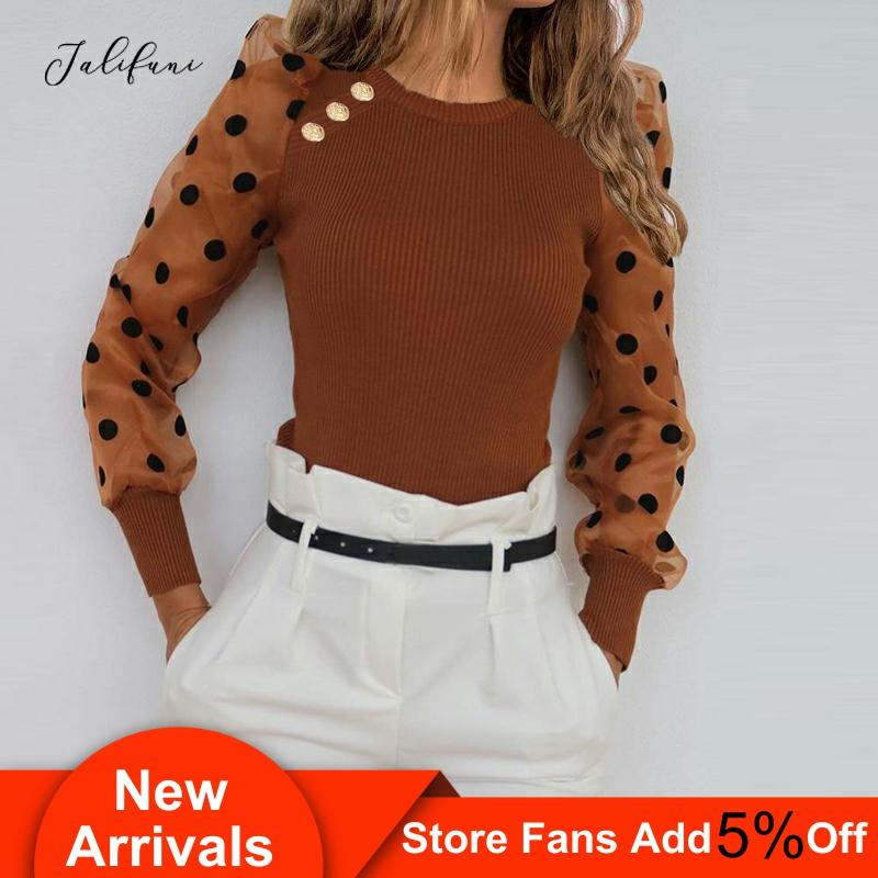 T Shirt Women 2020 Spring Autumn Mesh Long Sleeve Casual Polka Dot  Tops Ribbed Knitted Shirt Slim Elegant Party T-Shirt