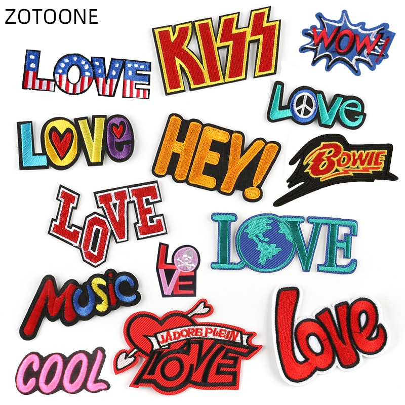 ZOTOONE LOVE Letter Patches Stickers Iron on Clothes Heat Transfer Applique Embroidered Application Cloth Fabric WOW