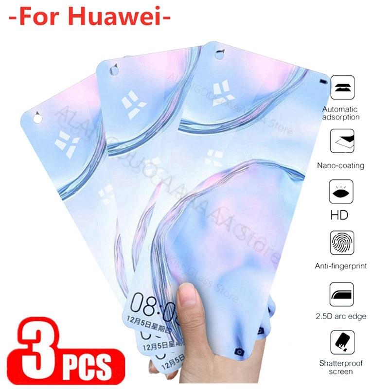 3-1Pcs vidrio para hauwei p40 protector de pantalla de cristal ligero en huawei p30 p20 lite mate 30 p smart 2019 Vidrio Templado