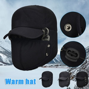Trooper Hat Winter Windproof Ski Hat with Ear Protection Warm Thicken Hunting Hats for Men Women H9