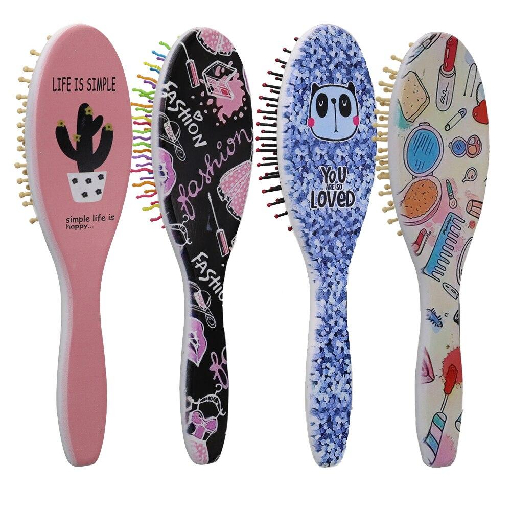 Расческа для волос с круглой деревянной ручкой, расческа для волос с воздушной подушкой, массажная расческа, модный парикмахерский инструм...