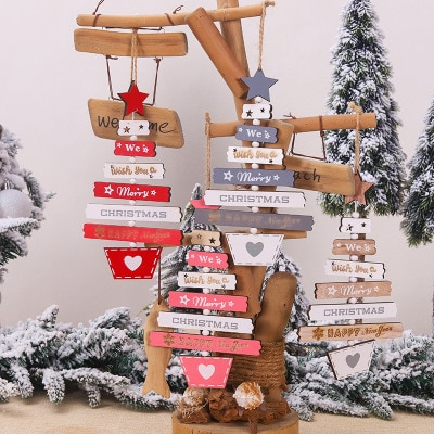 Wooden Christmas Decoration for Home Christmas Tree Pendant Christmas Wood Ornaments Navidad New Year 2020