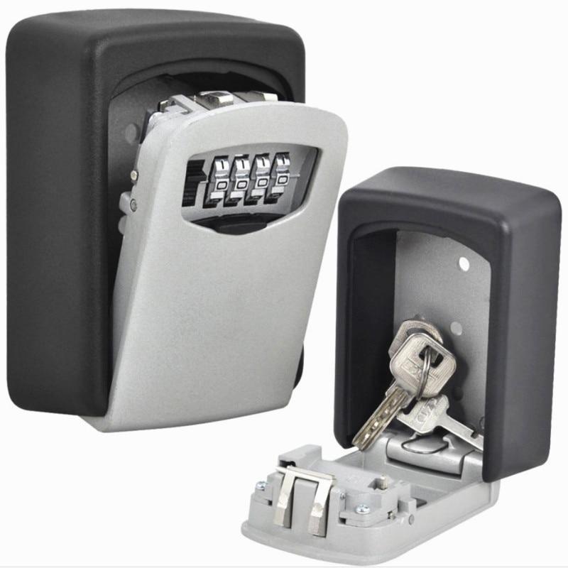 4 Digit Combination Key Storage Lock Box Indoor Outdoo Key Lock Box Wall Mounted Aluminum alloy Key Safe Box Weatherproof