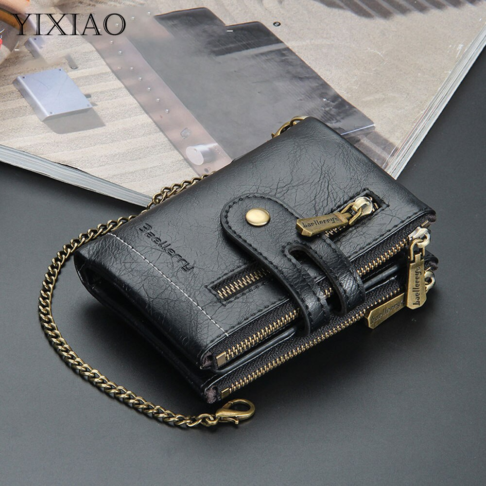 YIXIAO Fashion Men's Leather Short Wallet Chain Coin Purse Vintage Card Holder Clutch Male Money Cli