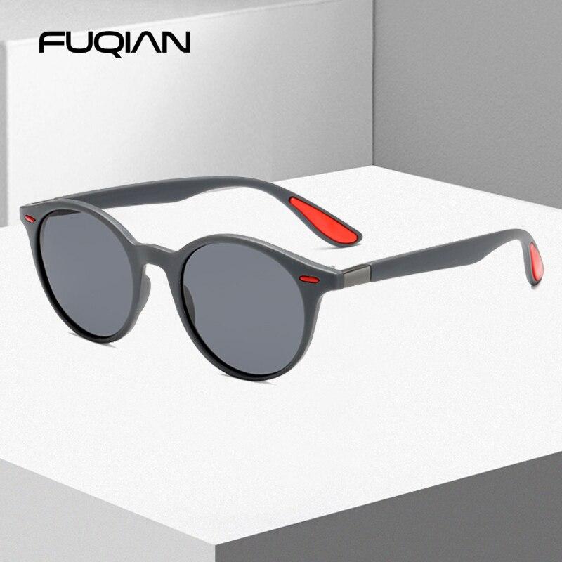 FUQIAN Fashion Round Men Polarized Sunglasses Women Vintage Plastic Sun Glasses For Male Anti Glare