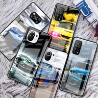 sports car glass phone case for xiaomi redmi note 9s 8 9 8t 7 9c capa for mi 10t pro 9t 10 lite tempered cover