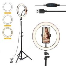 10 pouces photographie LED Selfie anneau lumière vidéo lumière Dimmable USB anneau lampe avec trépied support pour maquillage Youtube Tik Tok en direct