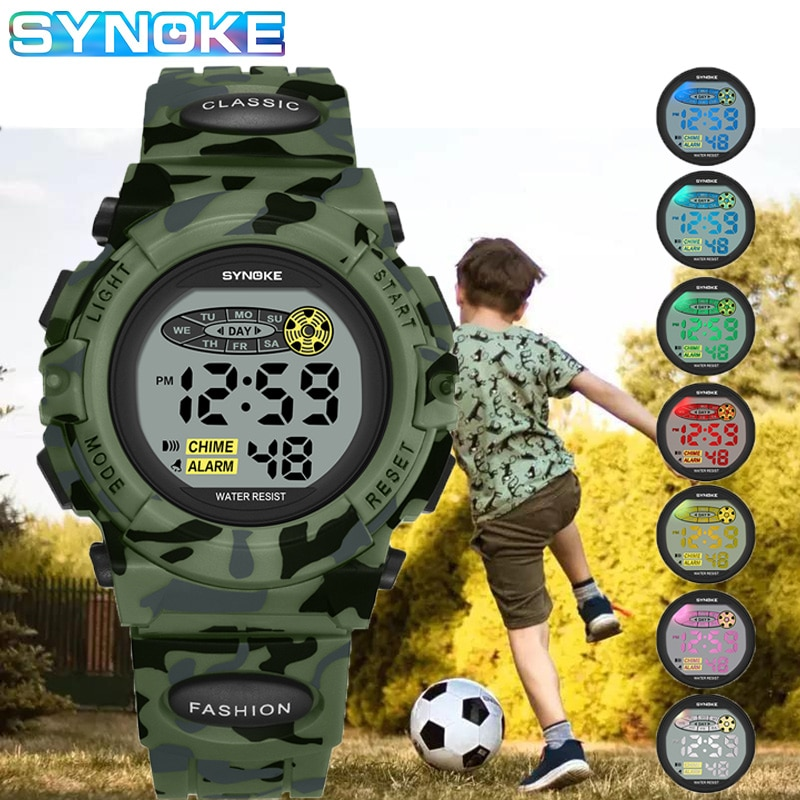Green Camouflage Kids Watches LED Colorful Flash Digital Waterproof Alarm For Boys Girls Date Week Creative Children's Clock