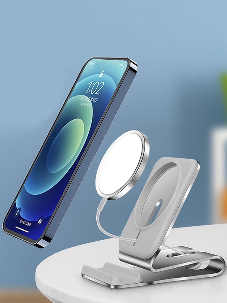 High-quality Non-slip Wireless Magnetic Phone Charger Stand Holder For IPhone 12 Magsafe Desk Power Base Dock Cradle Bracket enlarge