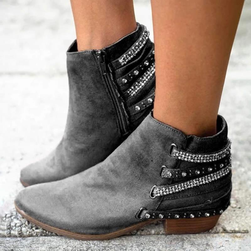 Botines de mujer para Otoño e Invierno de tacón bajo con punta redonda de piel sintética, botas de mujer informales con cremallera, botines de cristal brillante, zapatos de mujer