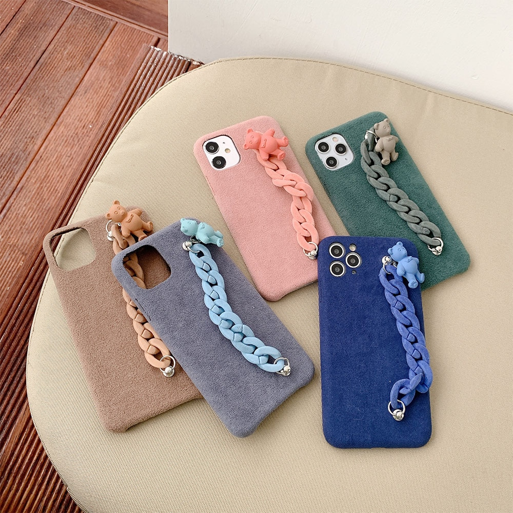 3D Mignon ours En Peluche bracelet téléphone étui souple pour iphone 11Pro X XS XR MAX 7 8 Plus SE 2020 Chaîne En Peluche pour iPhone 11