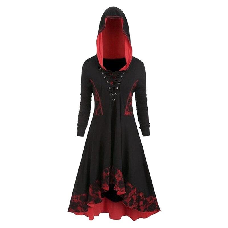 Vestido gótico de talla grande para mujer moda gótica de manga larga con encaje vestido de dobladillo Vintage vestido de fiesta vestido de primavera otoño Vestido7
