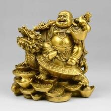 Laiton chinois rire Maitreya bouddha assis Dragon tortue Statue
