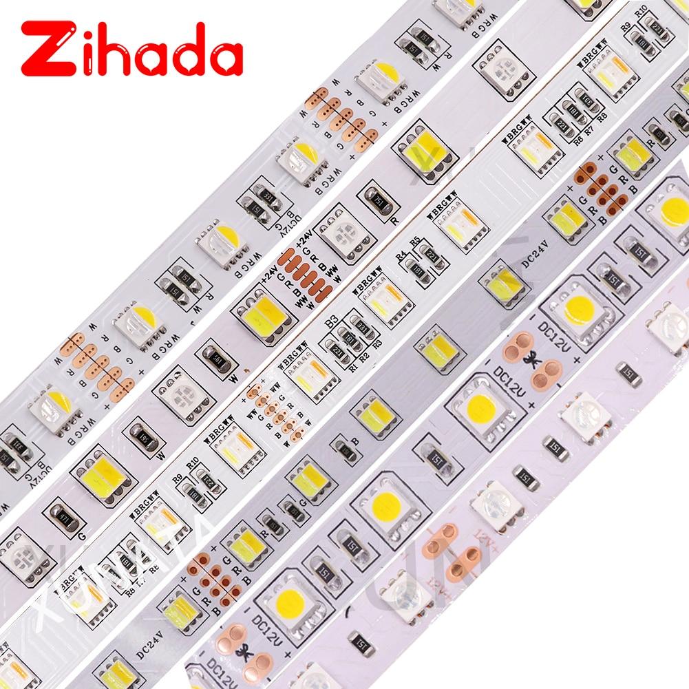 Tira de LED RGB 5050, 60 ledes/m RGBW RGBWW RGB CCT, tira de luz LED blanca cálida, impermeable, 12V, iluminación LED para interior y hogar