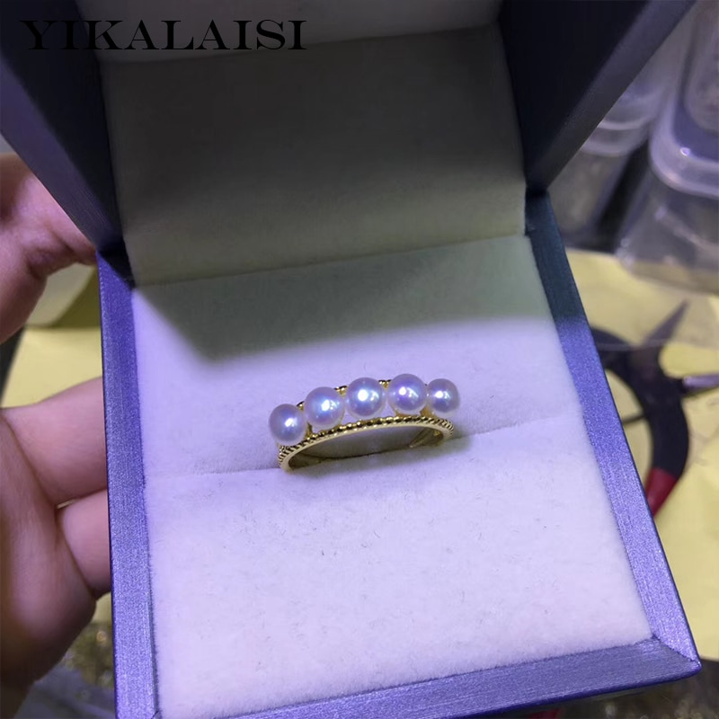 YIKALAISI 925 Jóias de Prata Esterlina anéis de Pérola 2019 Belas jóias de Pérolas Naturais 4-5 milímetros anéis Para As Mulheres por atacado