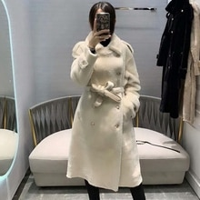 Manteau femme longue peau de mouton Double face naturelle et coupe-vent hiver mouton mérinos chaud épais véritable fourrure