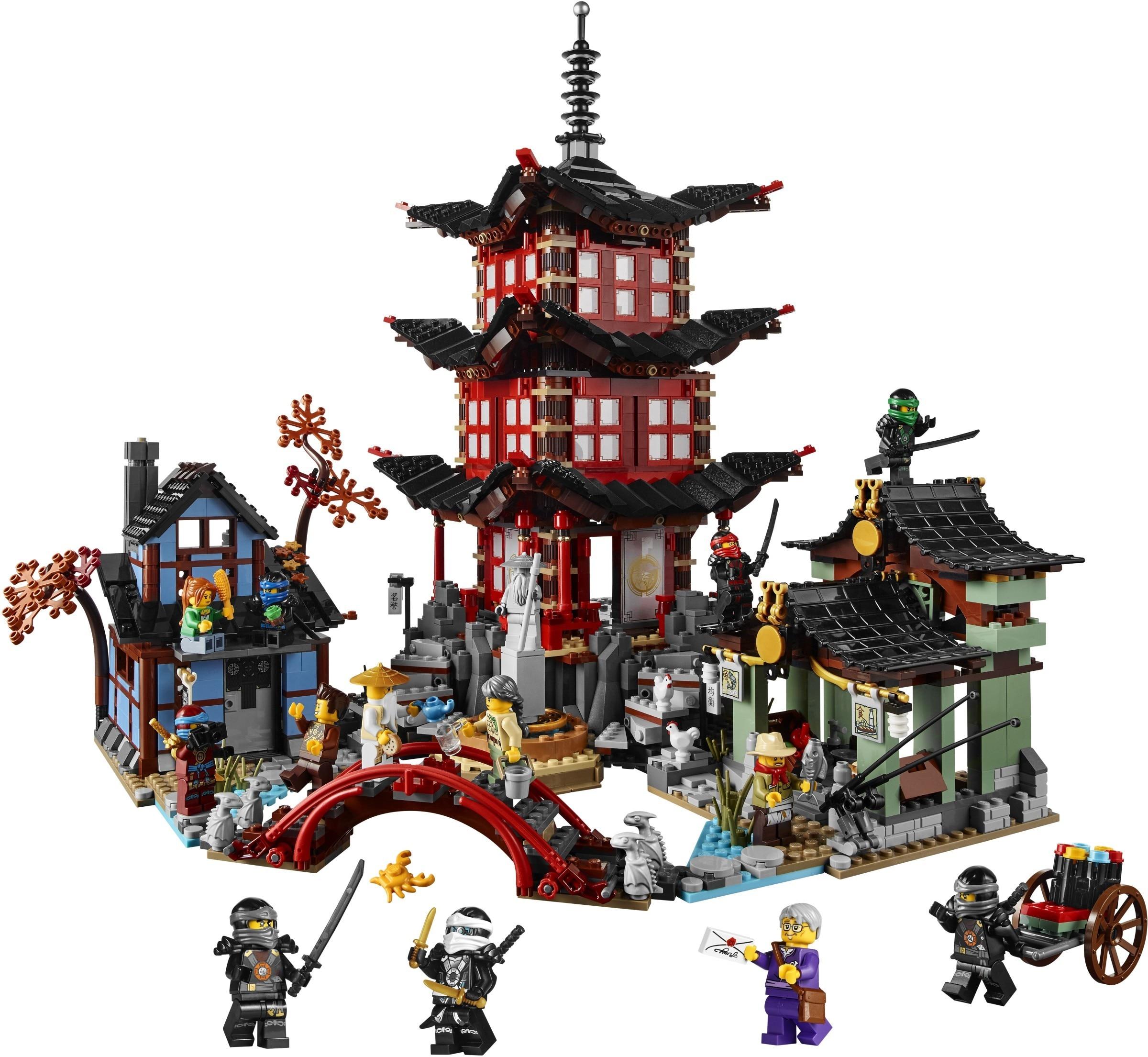737 Uds Diy templo Ninja de Airjitzu Ninjagoes versión más pequeña juego de bloques de construcción Compatible con Legoinglys juguete para niños ladrillos