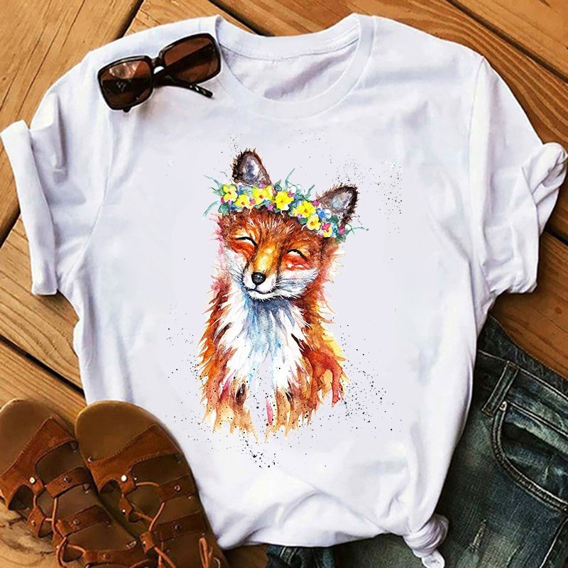 Women Print Clothing Graphic Fox Flower Cartoon Short Sleeve Travel Ladies Clothes Lady Tees Tops Female T Shirt Womens T-Shirt