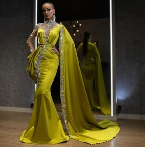 Evening Dresses Beads Olive Green Robe de soiree Abendkleider Evening Gowns Full Sleeve Sheer Mermaid Long Evening Dress