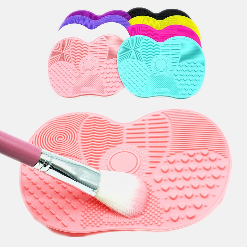 Silicone Makeup Brush Cleaner Pad Cleaning Mat Makeup Brush Scrubber Board Make Up Washing Brush Gel Cleaning Mat Hand Tool multi use silicone laundry washing brush small size handheld washing board brush for clothes candy color shirts cleaning tool