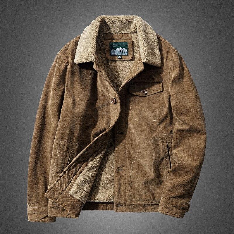 LUCLESAM Winter Men Warm Corduroy Plush Collar Cotton Coat mens casual down jacket Plus Size 6XL parkas jaqueta masculina