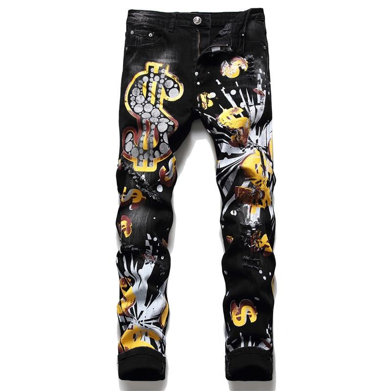 2021 outono inverno novo masculino magro pp lavagem jeans preto impressão buraco quebrado calças moda tinta imprimir calças jeans rasgado