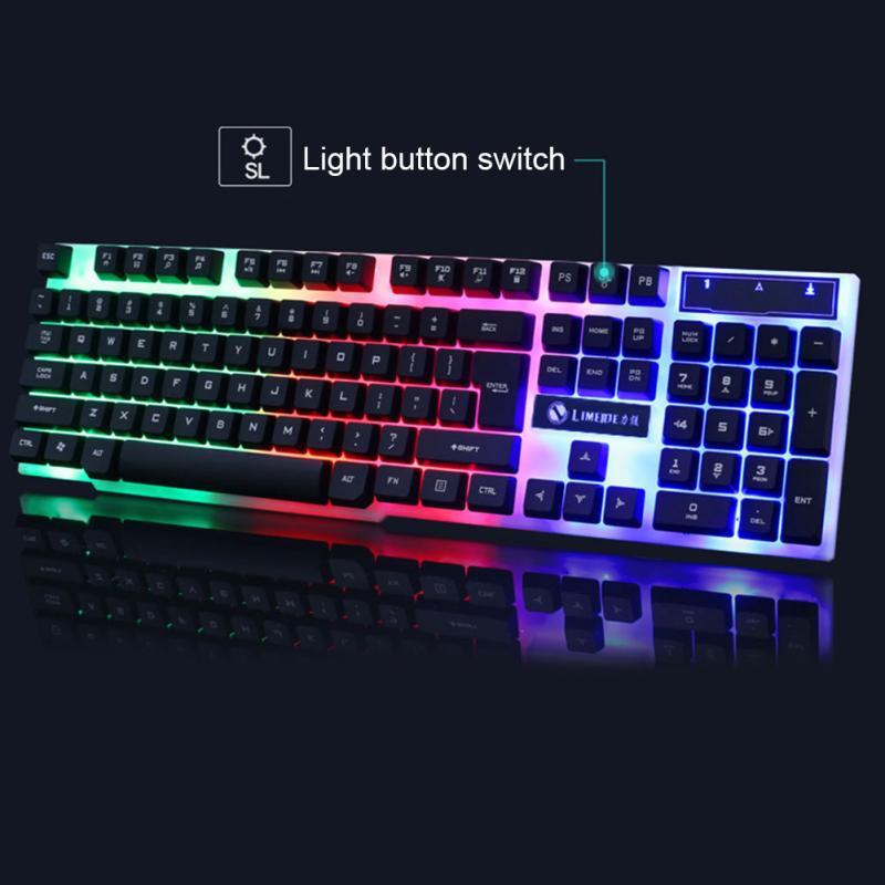 Nuevo teclado con cable USB 104, conjunto de ratón con retroiluminación LED para Notebook, Laptop, juegos, PC, suministros de oficina, ratones