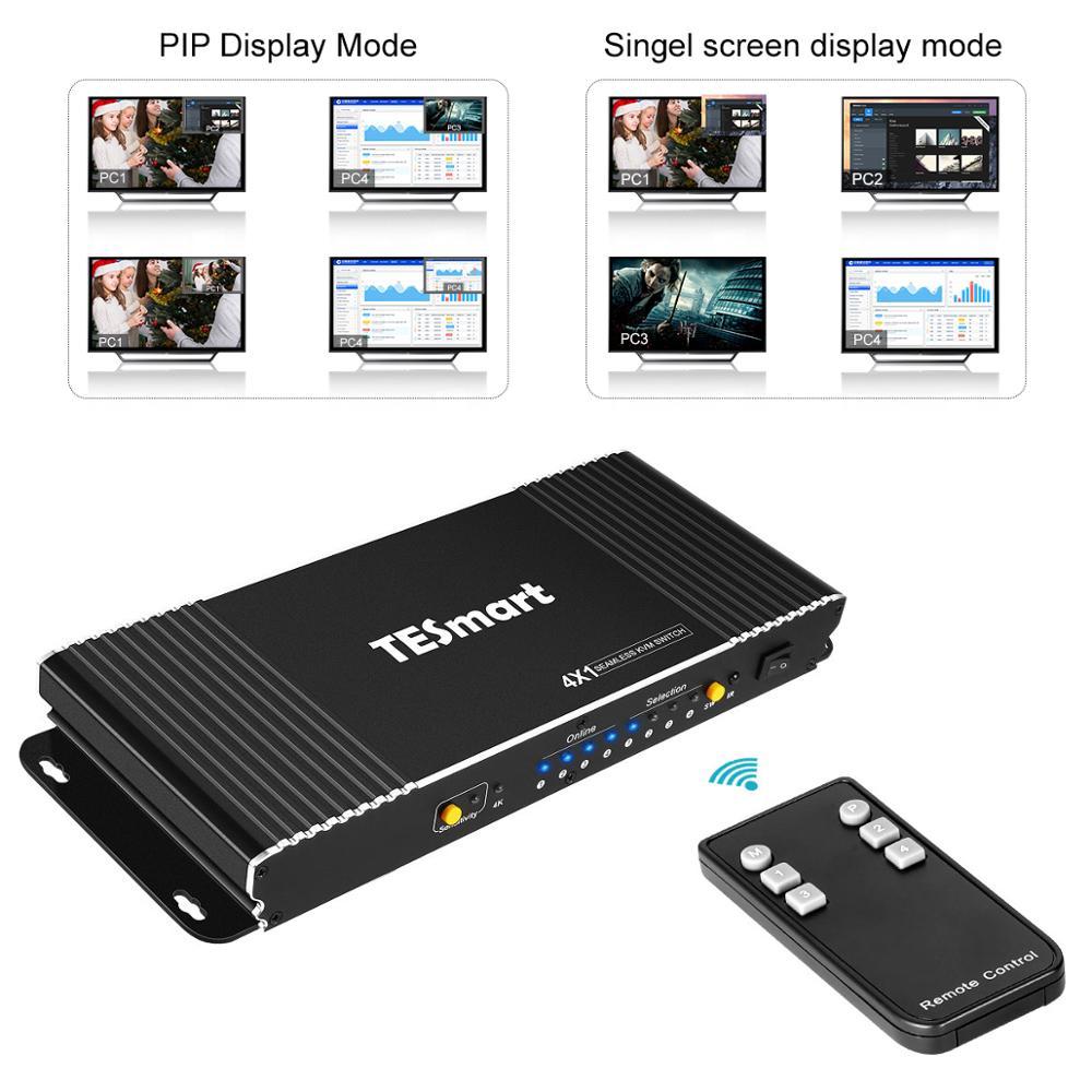 HDMI KVM Switch 4X1 Seamless w/PIP 4 Ports HDMI Switcher KVM USB2.0 4K@30Hz Switch KVM HDMI control4PCs 4Port Input 1 Port out