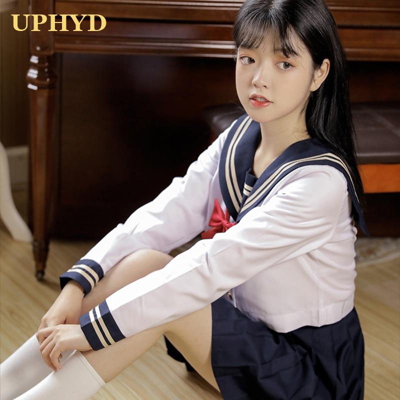 UPHYD japonais marin costume marine Preppy Style école filles uniformes haut et jupe avec S-2XL à nœud papillon