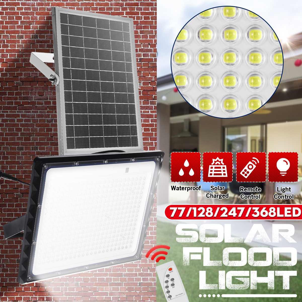 مصباح كشاف LED بالطاقة الشمسية مع عدسة ، مصباح حائط خارجي ، IP65 مقاوم للماء ، إضاءة المناظر الطبيعية ، مع جهاز تحكم عن بعد ، 100 واط 150 واط 300 واط 400 ...