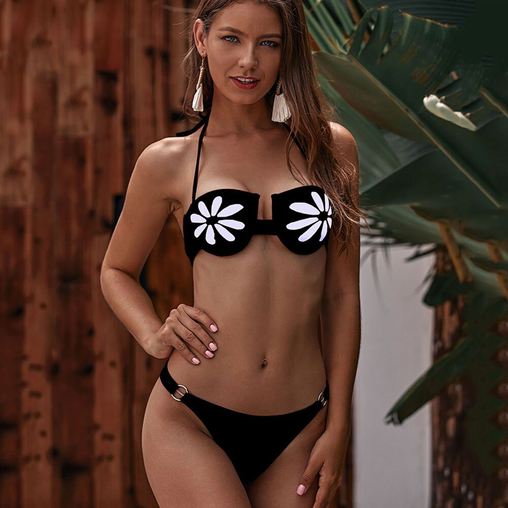 2020 Female Biquini Printed Swimsuit For Girl Floral Two Piece Ruffle Bathing Suit Bandage Sexy Bikini Women