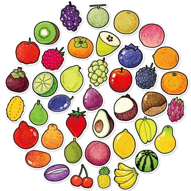 Lote de 40 pegatinas exquisitas de dibujos animados de verduras y frutas frescas para cocina, copa de panadería, plato, nevera, juguete educativo para niños