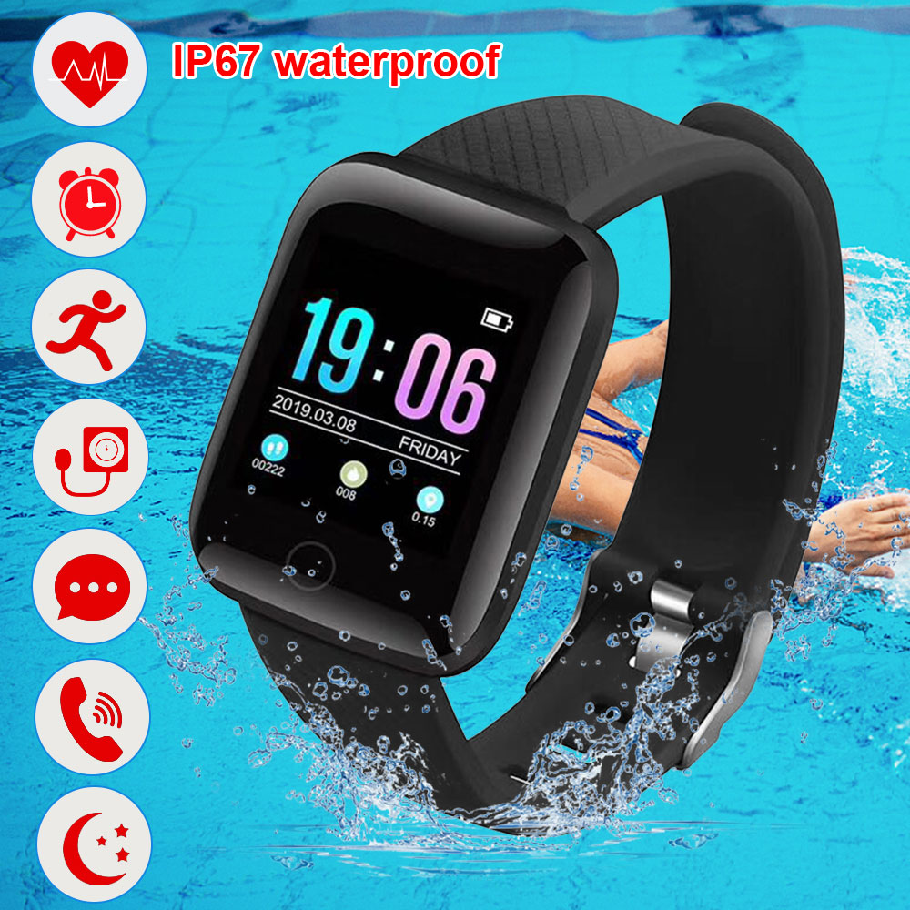116 Plus Waterproof Smart Watch Wristband Fitness Tracker Heart Rate Monitoring Men and Women Black Sports Watch Youth Gift
