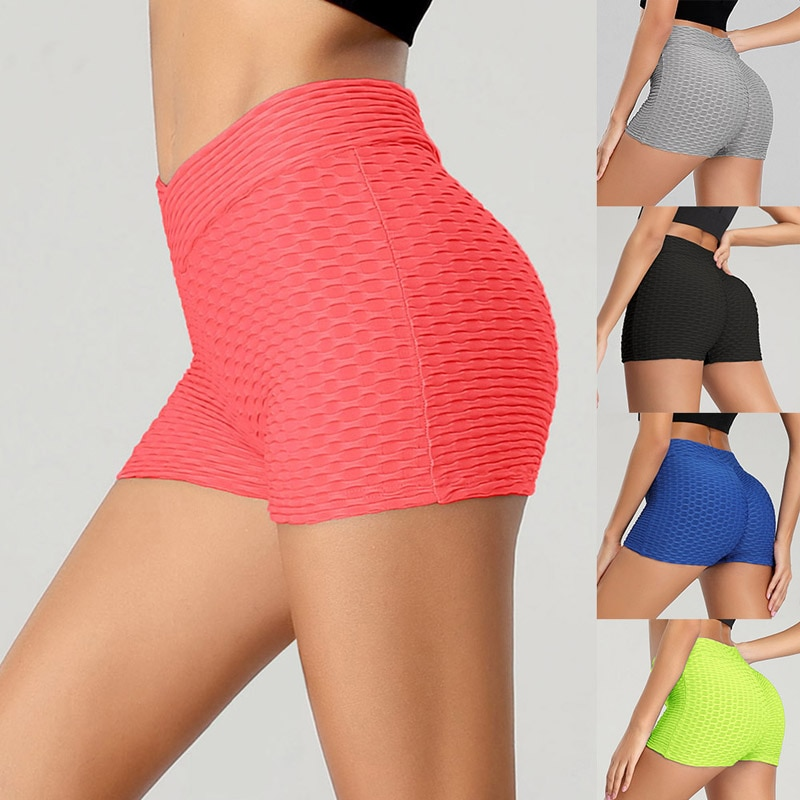 Mujeres Running Push Up Shorts para el deporte Delgado elástico de alta cintura gimnasio entrenamiento Fitness pantalones cortos Casual Femme Streetwear