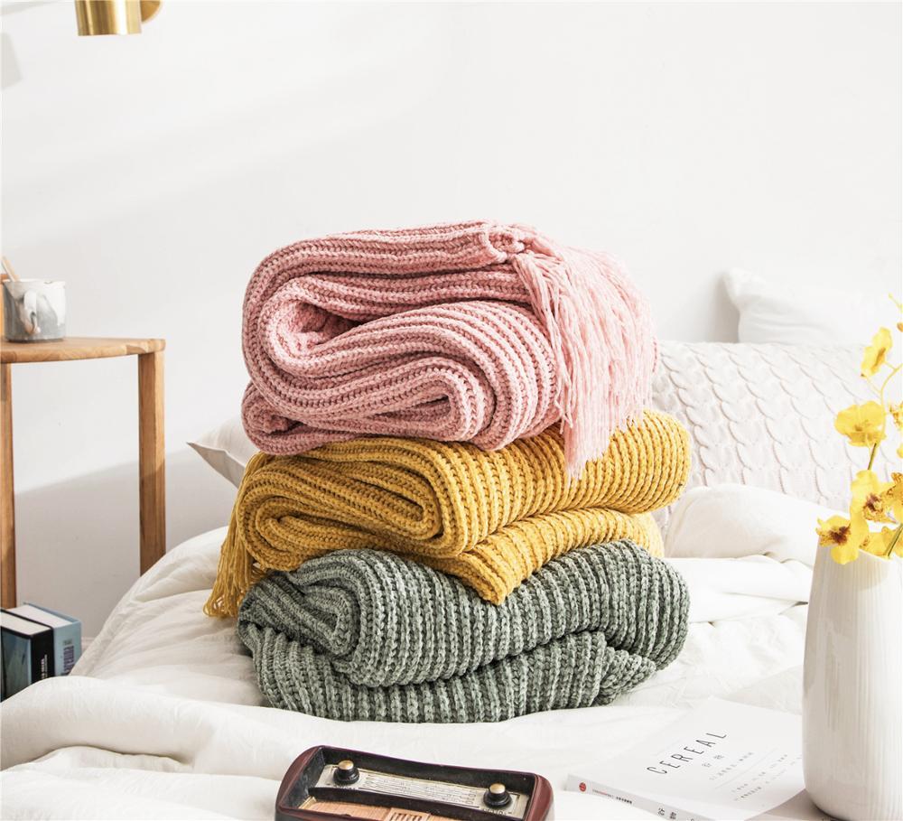 بطانية بوليستر على الطراز الاسكندنافي ، حياكة عصرية ، غطاء أريكة غير رسمي ، منشفة سرير ، شرابات مزخرفة ، لون خالص