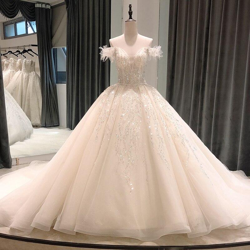 SL8101 vestido de novia 2020 con mangas marfil invitada elegante de lujo vintage princesa Iglesia bruiloft vestido de baile vestidos de boda