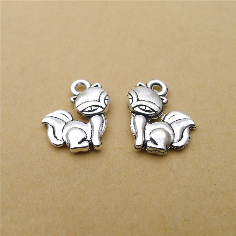 15 Cartoon Fox Charms 13x15MM Enamel Charms Animal for Jewelry Making  - buy with discount