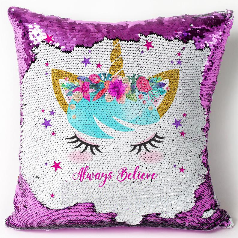 UNICORN Sequin Cushion Cover Magic Reveal  Home Decor Sequins Mermaid Pillow Cover
