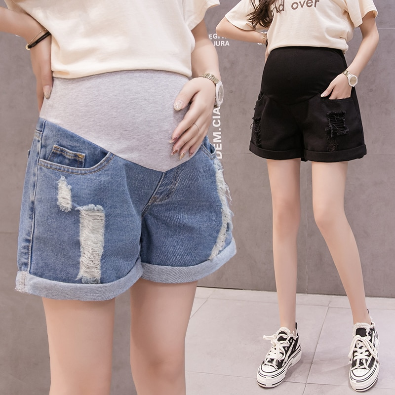 8816# Ripped Hole Rolled Up Wide Leg Loose Thin Denim Maternity Shorts Summer Casual Belly Clothes for Pregnant Women Pregnancy