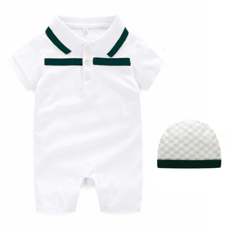 summer fashion baby boy clothes cotton short sleeve Letter G Patchwork toddler newborn girl rompers And hat 0-3 months