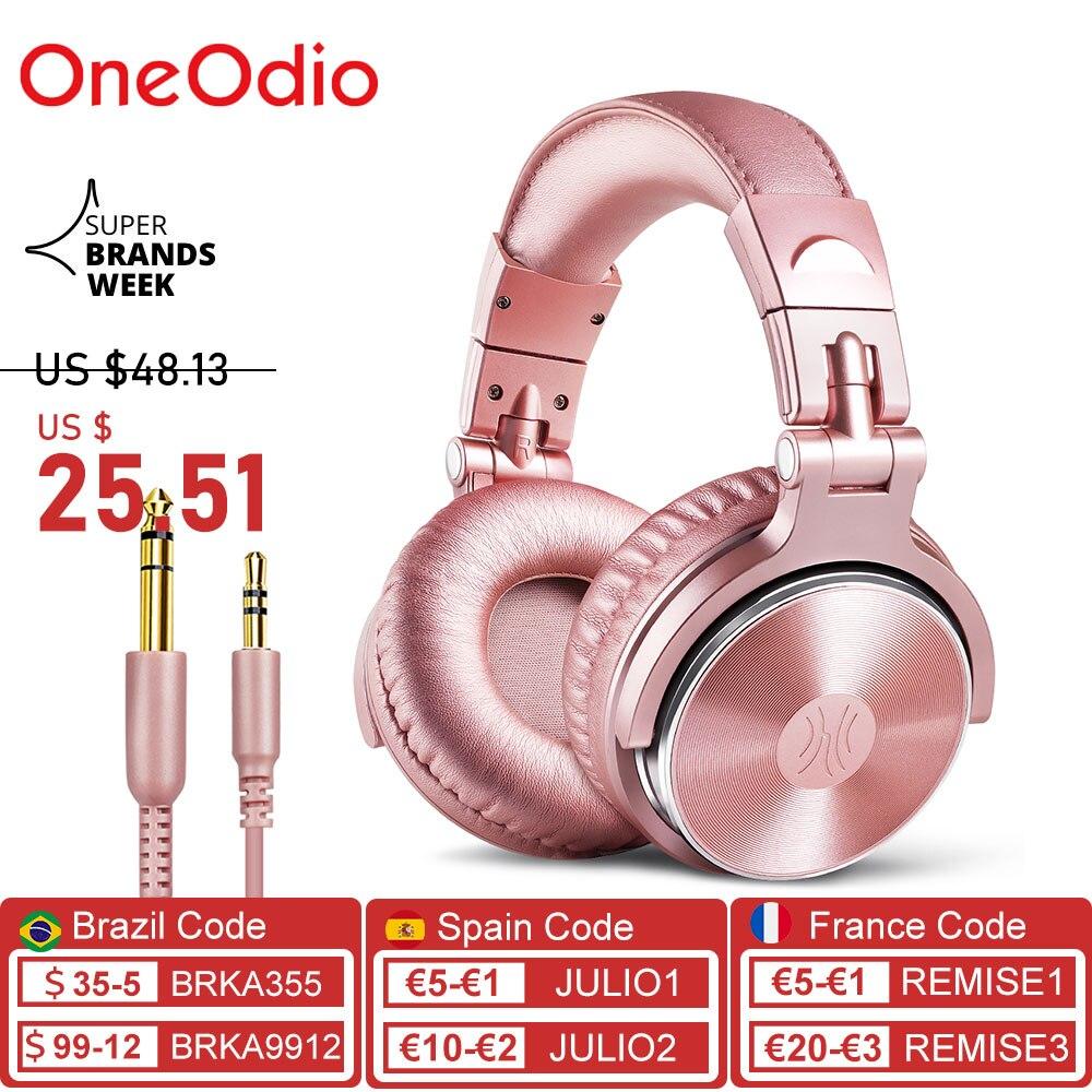 OneOdio-سماعات DJ سلكية ، استوديو احترافي ، مع ميكروفون ، فوق الأذن ، HiFi ، سماعات الموسيقى ، سماعة الهاتف والكمبيوتر الشخصي ، وردي