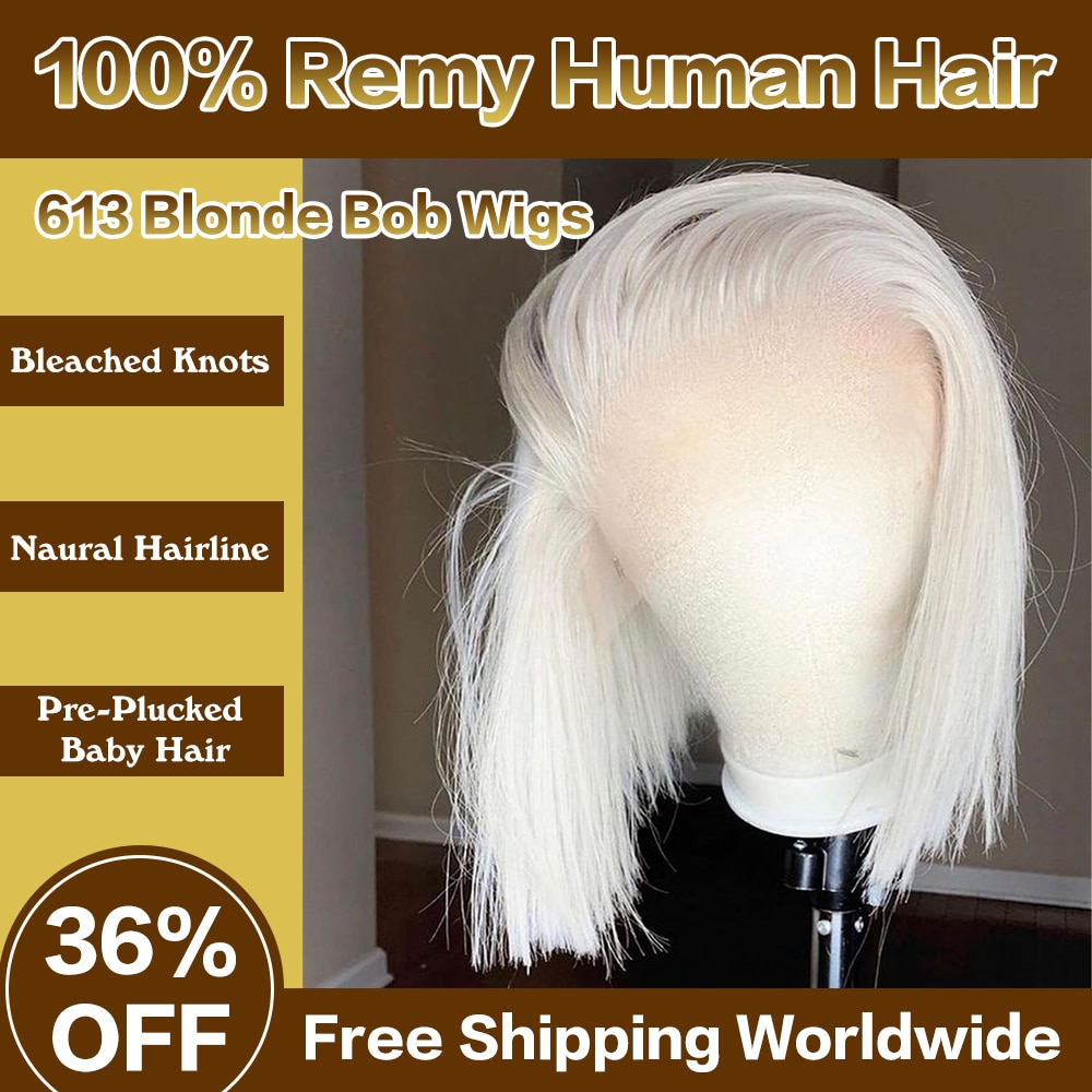 Royal Hair HD Transparen 613 Blonde Short Bob Lace Front Human Hair Wigs 13x1 lace front human hair straight frontal wigs