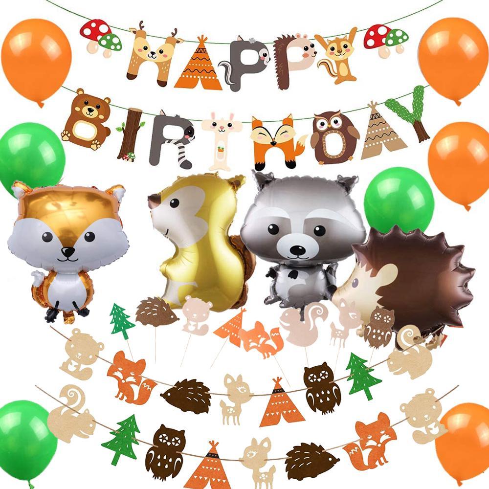 Decoraciones de fiesta Woodland, cartel de Feliz Cumpleaños de criaturas del bosque, adornos de pastel, globos metalizados de animales para cumpleaños, Baby Shower