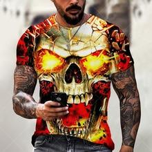 Rock Skull พิมพ์ Hip Hop สไตล์3D T เสื้อผู้ชายฤดูร้อนขนาดใหญ่สบายๆแขนสั้น Tees ยอดนิยม O คอ Street เสื้อผ้า Unisex