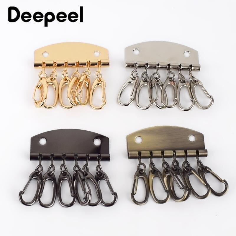 4pcs 6 Hooks Metal Patchwork Key Sewing Ring Holders Metalware DIY Wallet Bag Handmade Sew Leather KeyChain Rings Hook Buckle