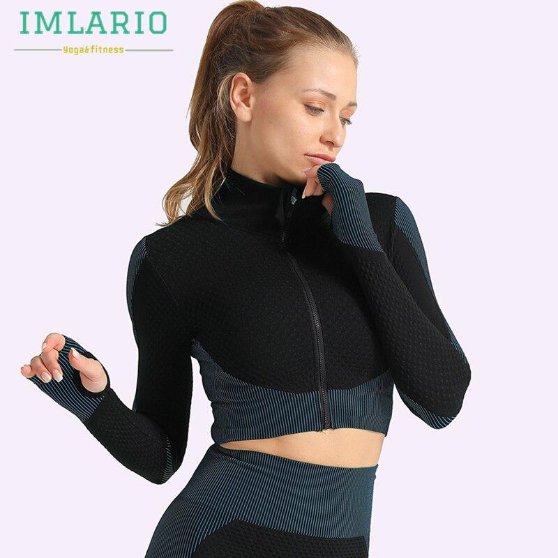 Imlario para ejercicio sin costuras chaquetas mujeres Atlético Top cremallera elástico ejercicio correr de manga larga agujeros de pulgar