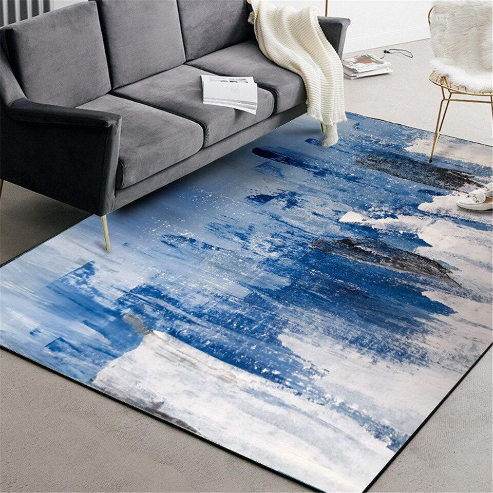 New Chinese Style Abstract Rug Art Light Blue Painting Pattern Floor Carpet For Living Room Non-slip Kitchen Mats For Floor