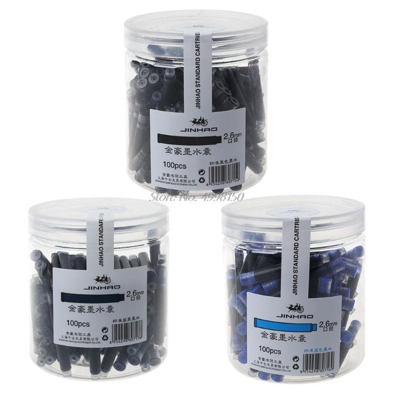 100 Uds. Jinhao bolígrafo Universal Negro y azul, cartuchos de tinta de 2,6mm, recargas escolares, oficina, papelería, triangulación de envíos