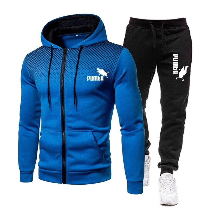 Комплект спортивной одежды мужской, флисовая толстовка с капюшоном и принтом, на молнии, повседневные спортивные штаны, комплект одежды для...